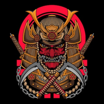 Guerreiro samurai japonês com katana