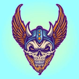 Guerreiro viking capacete chifres asas ilustrações vetoriais para seu trabalho logotipo, t-shirt da mercadoria do mascote, adesivos e designs de etiquetas, cartazes, cartões comemorativos anunciando empresas ou marcas.