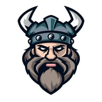 Guerreiro viking de logotipo profissional, mascote do esporte.