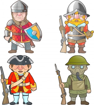 Guerreiros britânicos de diferentes épocas, conjunto de imagens