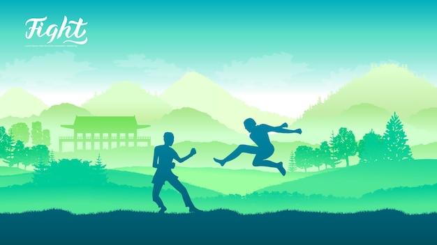 Guerreiros chineses de artes marciais de diferentes nações do mundo