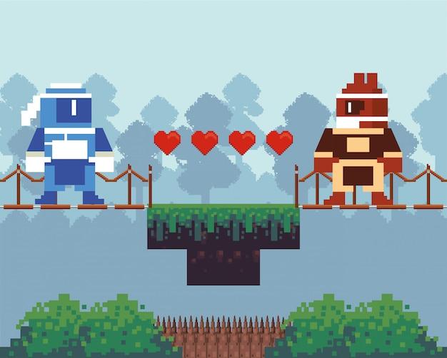 Guerreiros de videogame em cena pixelizada