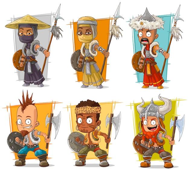 Guerreiros dos desenhos animados com conjunto de caracteres de lança