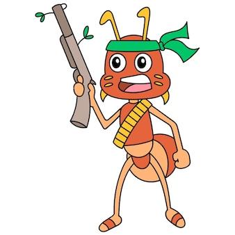 Guerreiros gladiadores carregando armas de fogo para lutar, imagem do ícone do doodle. cartoon caharacter desenho fofo doodle