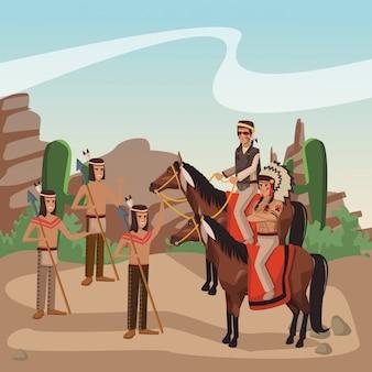 Guerreiros índios americanos em cavalos na aldeia