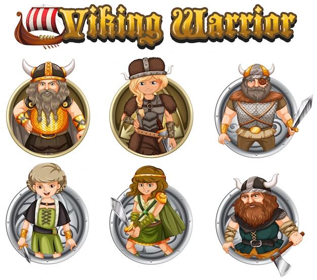 Guerreiros viking em crachás redondos