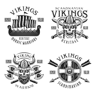 Guerreiros vikings vetoriais emblemas, etiquetas, emblemas, logotipos ou estampas de camisetas em estilo vintage monocromático isolado no fundo branco