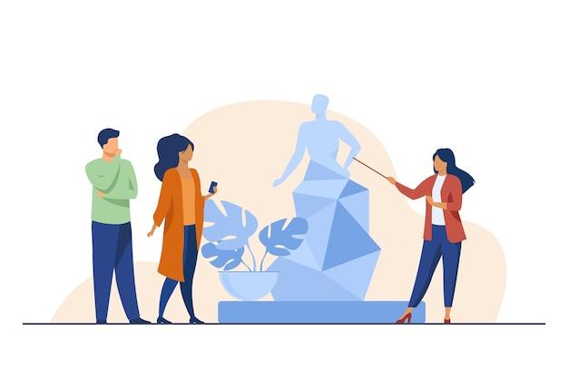 Guia contando sobre escultura para turistas. museu, viagens, ilustração em vetor plana de lazer. conceito de arte e entretenimento