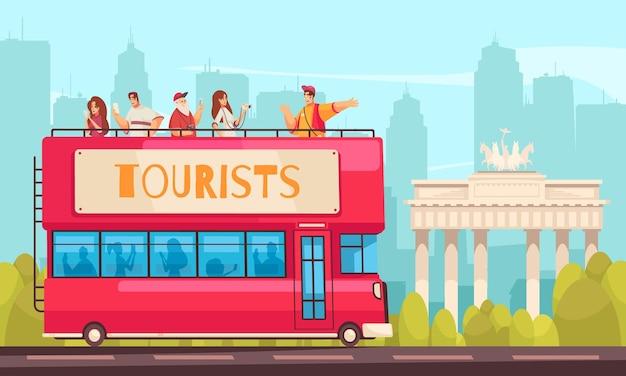 Guia da composição do turista da excursão com ônibus turístico e pessoas no cenário da cidade ao ar livre com ilustração da cidade