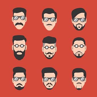 Guia de bigode e barba homem com óculos