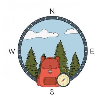 Guia de bússola com floresta de pinheiros e travelbag