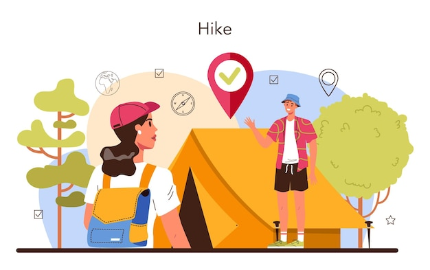 Guia de expedição de turistas caminhando, fazendo barracas e sentando perto da fogueira