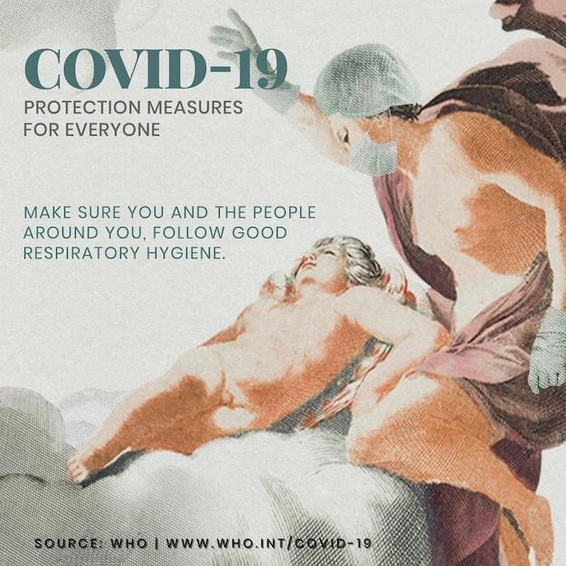 Guia de medidas de proteção covid-19 com ilustração vetorial de remix de pintura grega antiga