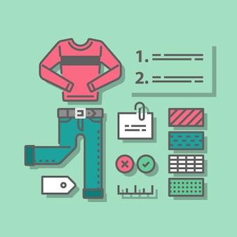 Guia de moda, roupas complementares, roupas casuais, conjunto de guarda-roupa, escolha de cores