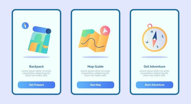 Guia do mapa da mochila obtenha aventura para aplicativos móveis modelo de interface de usuário da página de banner com três variações de estilo moderno de cor plana