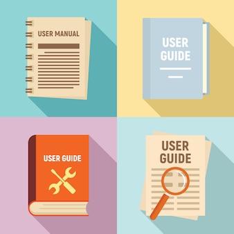 Guia do usuário conjunto de ícones, estilo simples