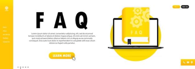 Guia do usuário do conceito livro de perguntas frequentes para página da web, banner, mídia social. livro do guia do usuário. ilustração vetorial