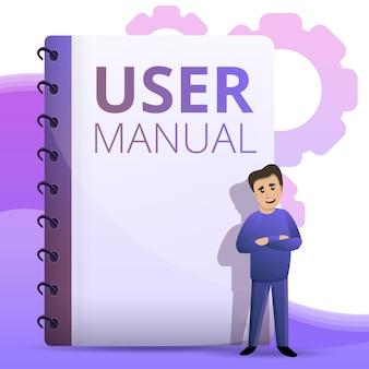 Guia do usuário ilustração do conceito, estilo dos desenhos animados