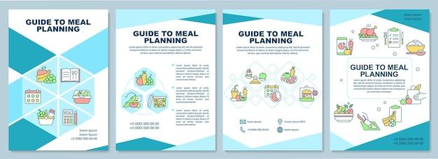 Guia para o modelo de folheto de planejamento de refeição. fazendo dicas de menu. folheto, folheto, impressão de folheto, design da capa com ícones lineares. layouts de vetor para apresentação, relatórios anuais, páginas de anúncios