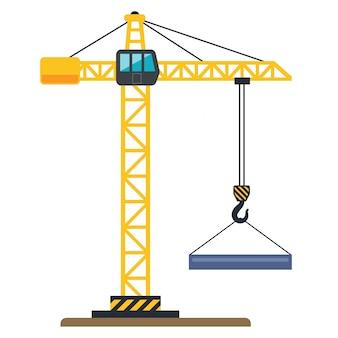 Guindaste de construção amarela levanta uma ilustração de carga