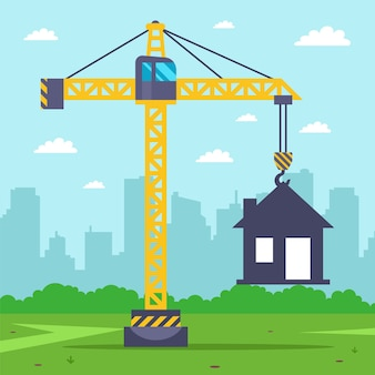 Guindaste de construção constrói uma casa de campo