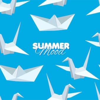 Guindaste de papel branco e padrão sem emenda de barco origami