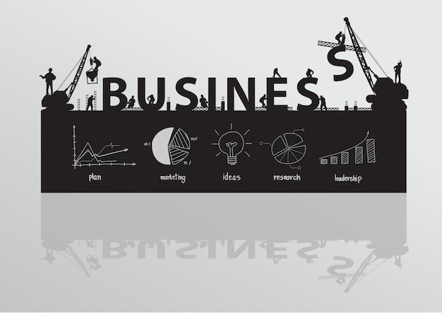 Guindaste de site de construção de vetor edifício conceito de ideia de texto de negócios