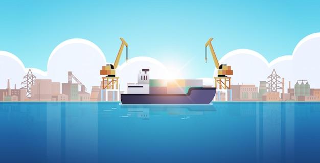 Guindastes no porto carregando contêineres no navio carga porto industrial transporte marítimo