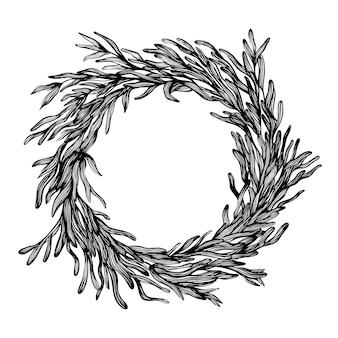 Guirlanda botânica decorativa em estilo tinta, moldura redonda com folhas. ilustração em vetor desenhada à mão