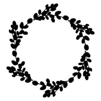 Guirlanda botânica redonda preta. ilustração vetorial