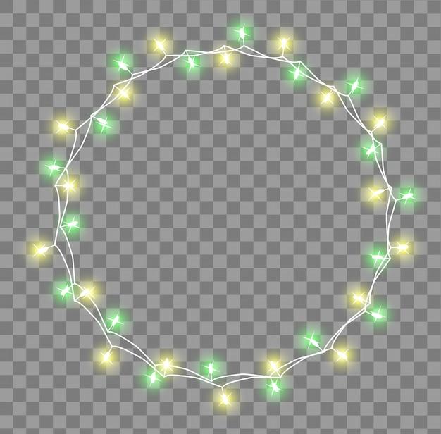 Guirlanda brilhante com pequenas lâmpadas. guirlandas de natal decorações efeitos de luzes. luzes brilhantes garlands xmas holiday cartão de felicitações. ilustração, clipart.