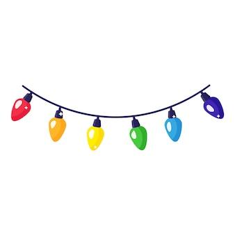 Guirlanda colorida festiva dos desenhos animados de natal.