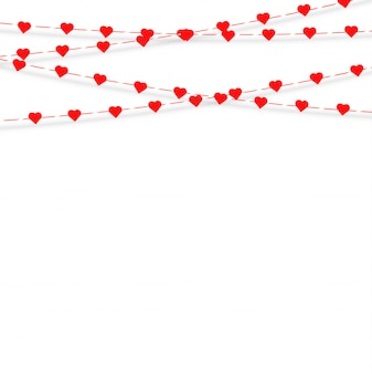 Guirlanda com corações de suspensão. amor romance dia dos namorados