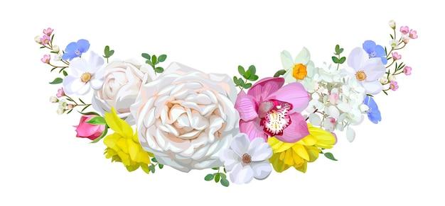 Guirlanda com lindas rosas e orquídeas