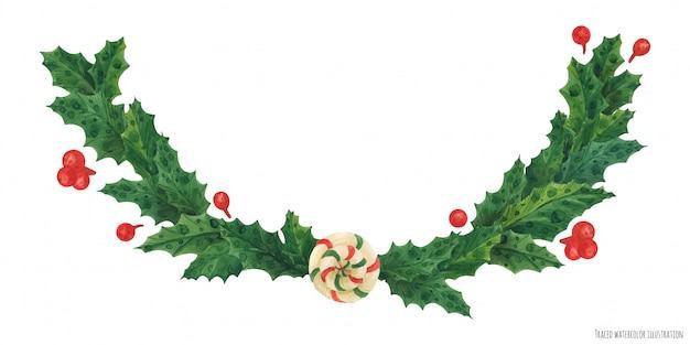 Guirlanda de azevinho de natal com pirulito, ilustração aquarela