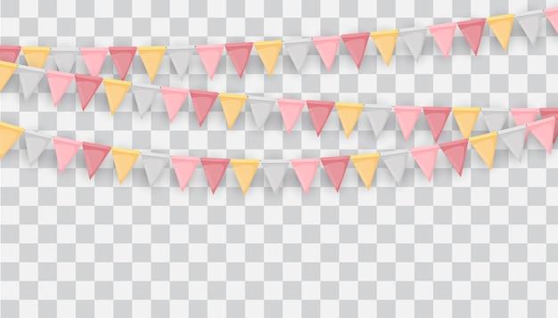 Guirlanda de bandeiras e fitas em fundo transparente