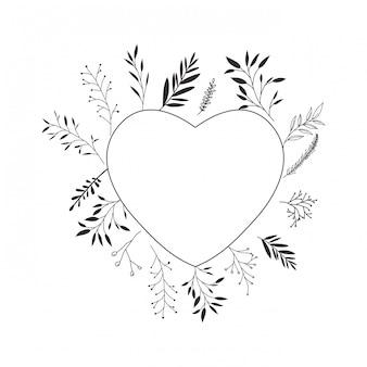 Guirlanda de coração com ícone isolado de flores