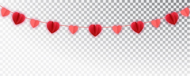 Guirlanda de corações de papel vermelho