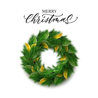 Guirlanda de feliz natal de vetor decoração de natal de ano novo com folhas verdes e douradas de azevinho