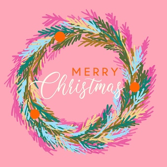 Guirlanda de feliz natal na paleta de cores rosa e vermelha das tendências