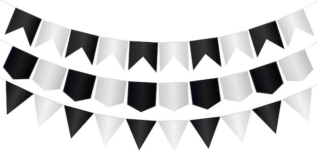 Guirlanda de flâmulas com bandeiras realistas em preto e branco
