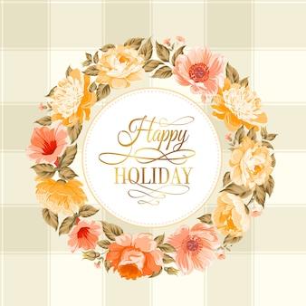 Guirlanda de flores com texto de feliz feriado.