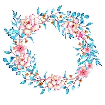 Guirlanda de flores em aquarela