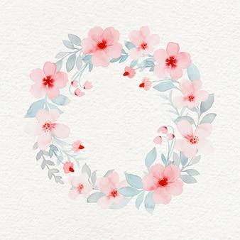 Guirlanda de flores rosa com aquarela