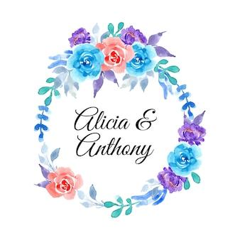 Guirlanda de flores roxa e azul com aquarela