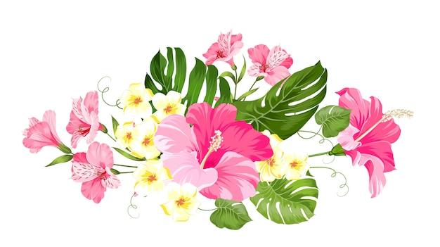 Guirlanda de flores tropicais para o seu cartão.