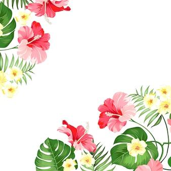 Guirlanda de flores tropicais.