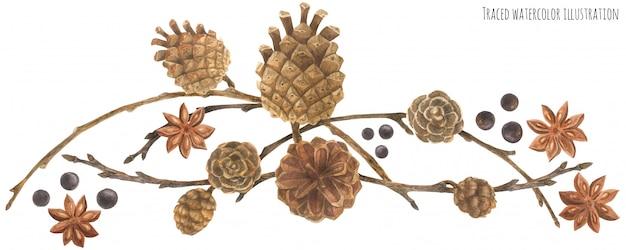 Guirlanda de floresta de inverno com cones e ramos