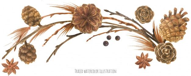 Guirlanda de floresta natural com cones e ramos