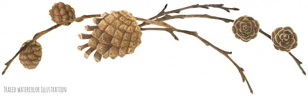 Guirlanda de floresta seca com cones e ramos